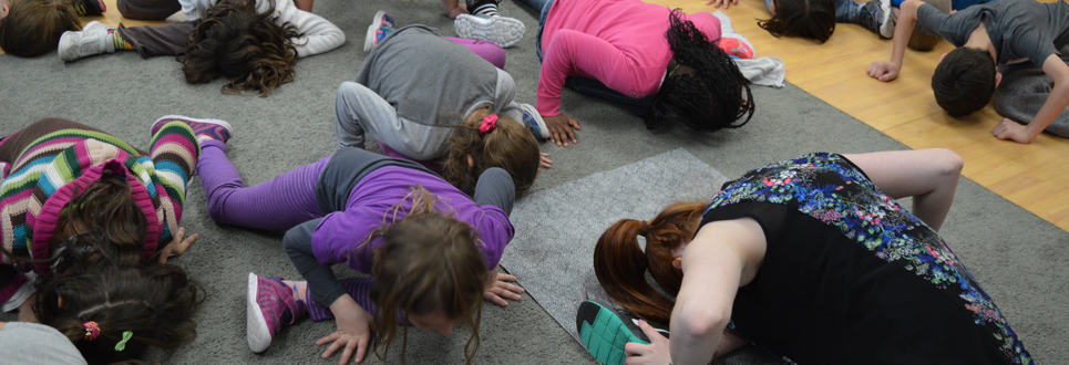 A group of students doing stretches.